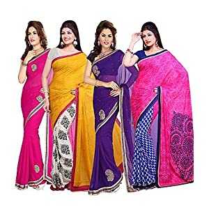 Ishin Combo of 4 Georgette And American Crepe Sarees Combo 49