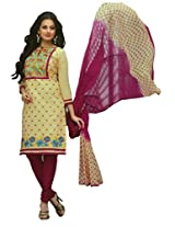 SGC Beige Cotton Embroidery unstitched churidar kameez (R-9198)