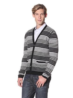 Christopher Fischer Men's Cashmere Long Sleeve Stripe V-Neck Cardigan (Black)