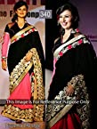 Divyanka Tripathi Pink and Black Designer Half and Half Saree