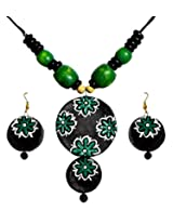 DollsofIndia Wooden Bead Necklace with Hand Painted Green Flower on Black Terracotta Pendant and Earrings - Terracotta and Wood - Black