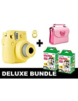 Fujifilm Instax Mini 8 - Yellow + 40 Pack Instax Film + Butterfly Pink Gm Bag + Yellow Selfie Mirror