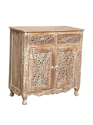 Moti Carver 2-Door 2-Drawer Carved Cabinet, White Antique