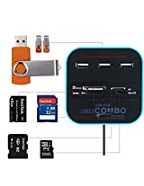Cables Kart All In One COMBO Card Reader & 3 Port USB 2.0 Hub - Blue - 2 Year Warranty
