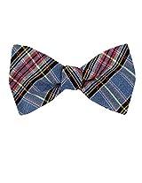 FBTT-11098 - Blue - Pink - Orange - Mens Big and Tall Silk Self Tie Bow Tie