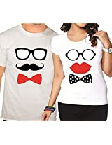 Giftsmate Matching Moustache and Lips Couple T-shirts - Set of 2.Valentine gifts for boyfriend, gifts for girlfriend, gifts for husband, gifts for wife.