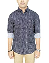 AA' Southbay Men's Midnight Blue 100% Cotton Printed Long Sleeve Casual Shirt with 2 Flap Pockets