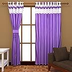 Bsb Trendz Polyester Plain Fancy Door Curtain- Purple, 213.36 cm X 121.92 cm