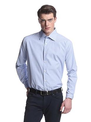 Oxxford Men's Spread Collar Dress Shirt (Blue/White Check)