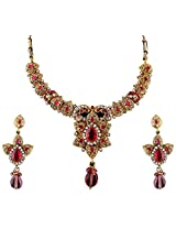 Vivanta Pink Gold Plated Necklace And Earrings Set For Women (VD-N113)
