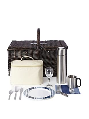 Picnic at Ascot Buckingham Basket for 4 with Coffee, Brown Wicker/Blue Stripe