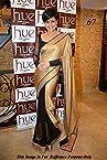 Bollywood designer party wear Mandira bedi beige balck saree