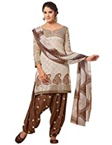 Vibes Women Georgette Salwar Suit Dress Material (V130-9006 _Brown And off-White _Free Size)