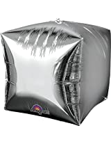 "Anagram International Cubez Silver Flat Balloon, 15"", Multicolor By Anagram International"