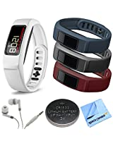 Garmin Vivofit 2 Bluetooth Fitness Band (White)(010-01503-01) Burgundy/Slate/Navy Bundle includes vivofit 2 with Large and Small Band, Burgundy/Slate/Navy Large Bands, Headphones, Watch Battery and Microfiber Cloth