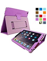 Snugg iPad Air 2 Case Smart Cover with Kick Stand & Lifetime Guarantee (Purple Leather) for Apple iPad Air 2 (2014)