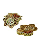 eCraftIndia Set of Dry Fruit Boxes (LxWxH - 8.5INx8.5INx2IN)