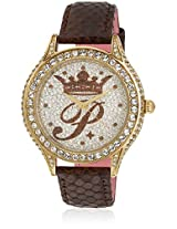 H Ph12987jsg/04 Brown/Silver Analog Watch Paris Hilton