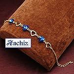 Aachiz Golden Blue Heart Crystal Charm Chain Bracelet