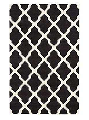Handmade Marrakech Rug, Black/Cream, 5' x 8'