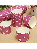 50Pcs Star Pattern Cupcake Paper Muffin Cup High Temperature Baking Cup(Color:Pink)