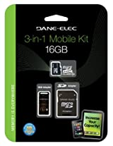 Dane DA-3IN1C1016G-R Dane 16GB MicroSD C10 with 2 Adapters