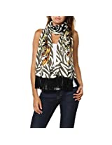 Ed Hardy Womens Skull Knit Scarf - Off White/Thyme