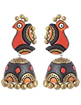 Scorched Earth Mayil Red Terracotta Jhumki Earrings for Women