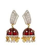 Dilan Jewels KNOWLEDGE Collection Red Coloued Meenakari Silver Jhumki Earrings For Women