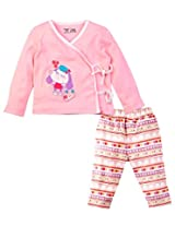 Infant Girls Full Sleeves Overlap top with Printed Legging Set, Light Pink (0-3 Months)