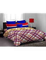 Home Expression USA Lorrian Abstract Cotton Double Bedsheet with 2 Pillow Covers - Queen Size, Multicolor
