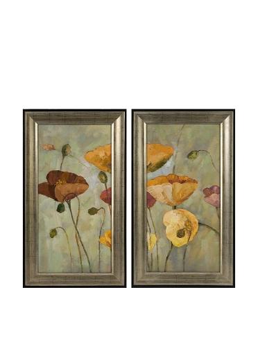 Carolyn Kinder Set of 2 Rainbow Poppies Oil Paintings