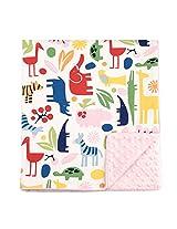 "My Blankee Jumbo Zoo Organic Cotton White w/ Minky Dot Pink Baby Blanket, 30"" X 35"""