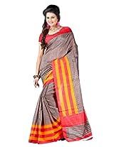 Lookslady Printed Brown & Orange Bhagalpuri Silk Saree
