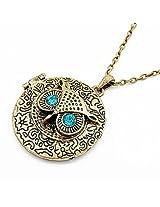 Cilver Fashion round Bronze owl pendant chain