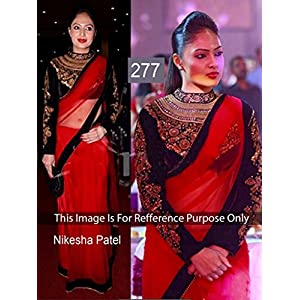 bollywood replica designer nikesha patel red net saree with black georget blouse with handwork.5185