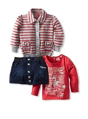 Baby Phat Girl's 3-Piece Skirt, Jacket and Tee Set (Dark Wash)
