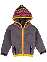 Infant Boys Full Sleeve Hooded Sweater With Jacquard Pattern, Multi Colour (0-6 Months)