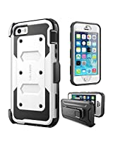 iPhone SE Case, [Armorbox] i-Blason built in [Screen Protector] [Full body] [Heavy Duty Protection ]/Holster/Bumper Case for Apple iPhone SE 2016 Release/Compatible with iPhone 5S/5 (White)