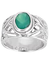 925 Sterling Silver & Natural Faceted Green Onyx Gemstone Men's Ring
