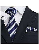 """Landisun 30N Stripes Mens Silk Tie Set: Necktie+Hanky+Cufflinks Navy Blue White, 3.75""""Wx66""""L"""