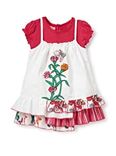 Beetlejuice Girl's 2T-6X Butterfly Kisses Embroidered 2Fer Dress (White)