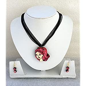 Anikalan Designs Barbie Pendant with flower earrings Terracotta Necklace Set