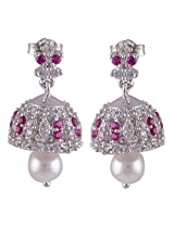 Silver Prince 6.7 Grm Pearl, White Cubic Zirconia, Pink Cubic Zirconia Bestseller 925 Silver Earrings