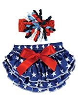 Stephan Baby Stars and Stripes Ruffled Diaper Cover and Curly Bow Headband, 12-18 Months