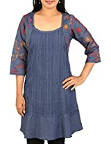 Arclines Women's Regular Fit Tunic (Cc11112187_4Xl, Blue, 4Xl)