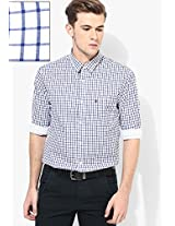 Navy Blue Check Slim Fit Casual Shirt Izod