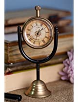 Retro Round Metal Table Desk Clock with Handle Indian Home Decor - 2.5 Inch