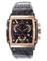 Ciemme Men's Luxury ETA Chronograph Quartz Movement Black Leather Band Rose Gold Bezel