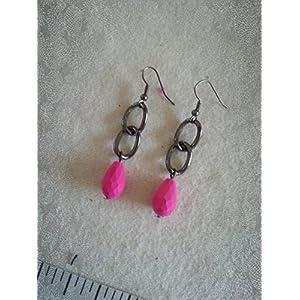 Knickknack Gun metal Pink bead Earrings